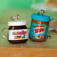 Nutella and peanut butter earrings kawaii miniature Polymer clay