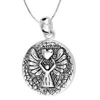 """Sterling Silver """"Guardian Angel"""" Reversible Angel Pendant Necklace, 18"""""""
