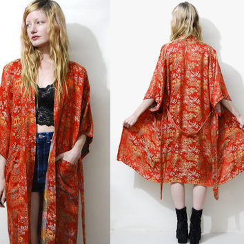 70s Vintage KIMONO Robe Red Satin Embroidered Brocade Jacket Coat Lightweight Chinese Ethnic Boho Hippie Bohemian Gypsy 1970s vtg S M