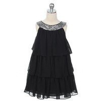 Sweet Kids Toddler Little Girl Black Tiered Sequined Party Dress 2T-12
