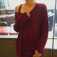 Solid color loose long-sleeved Shirt Blouse Tops
