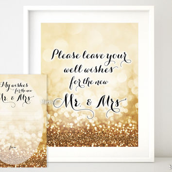 Please leave your well wishes for the new Mr & Mrs in gold glitter