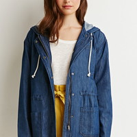 Life In Progress Frayed Denim Utility Jacket