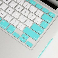 """Litop® Two Colors Series Silicone Keyboard Cover Keyboard Skin for All MacBook Air 13"""", MacBook Pro with Retina Display 13""""15"""" 17"""" and Apple Wireless Keyboard (Paradise Blue and White)"""