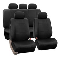 FH-PU002-1115 Classic Exquisite Leather Car Seat Covers, Airbag compatible and Split Bench, Solid Black color