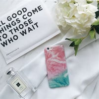 For iPhone 7 7plus 7+ Pink Green Multi-color Smooth Granite Marble Phone Case For ipone 6/6s Plus 6+ Funda Cases Hard Back Cover -0324