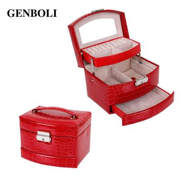 GENBOLI Women Makeup Carrying Case Casket Jewelry Leather Organizer Storage Display Packaging Rack Box Wedding Decoration Gift