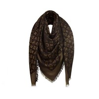 DCCK3SY Authentic Louis Vuitton Brown Gold Shine Scarf In Excellent Conditions
