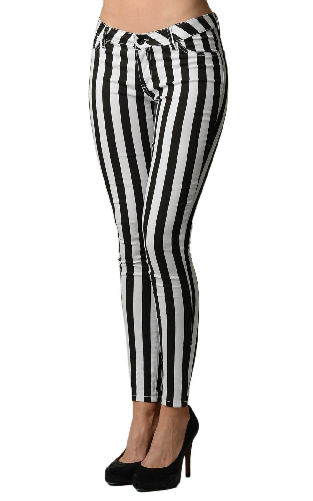 Image of Striped Navy and White Skinny Jeans