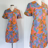neon floral vintage 1960s Mod era drop waist cotton pleated tennis skirt mini dress // psychedelic print // size L 38 bust