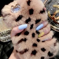 New Chic Luxury Rose Brown Leopard Rabbit Fur Bling Rhinestones Mobile Cell Phone Case Cover for iPhone Samsung - Casemoda   Pinkoi