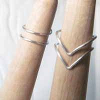 Sterling Silver Midi Ring Set, Wire Rings, 2 Chevron Rings and 2 Mid Rings, Size 1.5 2 3 4 5, Sterling Silver Knuckle Ring Set
