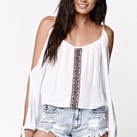 LA Hearts Embroidered Cold Shoulder Top - Womens Shirts