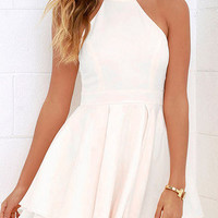 White Halter Neck Cut Out Layered Pleated Swing Dress