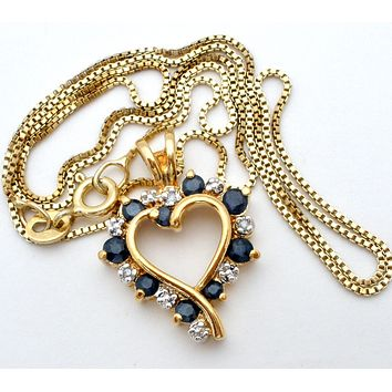 "Sapphire Heart Necklace 18"" Gold over Sterling Silver"