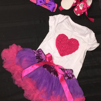 Infant Heart Onesuit Toddler Heart Onesuit Baby Onesuit Infant Romper Heart Toddler romper Tutu Birthday Dress Baby Romper Heart Plaid