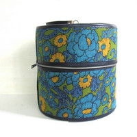 Vintage 1960s blue floral hat or wig box