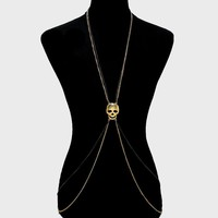 Day of the Dead Gold Plated Skull Body Jewelry