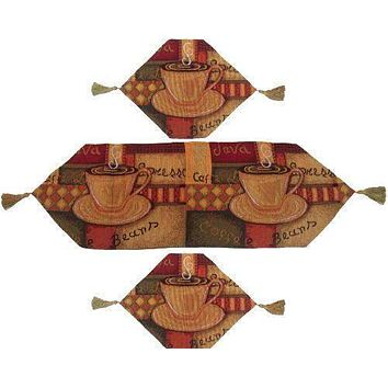 DaDa Bedding Set of 3 PCs - Smell of Coffee Cafe Cup Woven Tapestry Table Runners (9912)