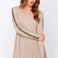 Hello There Beige Long Sleeve Beaded Dress