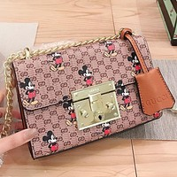 GUCCI & Disney New Fashion More Letter Mouse Print Leather Chain Shoulder Bag Crossbody Bag