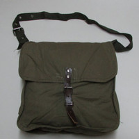 Vintage Army Canvas Bag, Old Bulgarian Messenger Bag, Unused USSR type Cold War, haversack, New Army Green Bag, Gift for Him