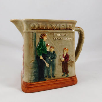 1949 Oliver Twist Pitcher, Royal Doulton, Oliver Asks for More, Dickens Issue, Rare Find for Collectors, England