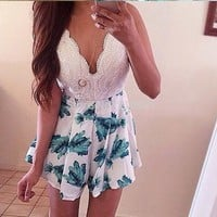 Summer Sexy Backless Lace Mosaic Spaghetti Strap Romper Dress Women's Fashion One Piece Dress [6049229441]