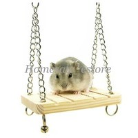 Mouse Rat Parrot Hamster Wooden Bell Swing Suspension Poppled Hanging Cage Toys