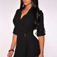 Black Wrap V-Neck Button Tab Sleeves Trench Romper