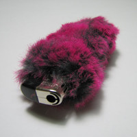 Fluffy Faux Fur Bic Cigarette Lighter Case Cover by Kerenika
