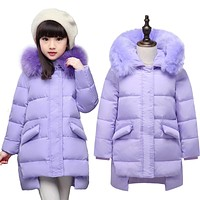 Girl's down Jackets Warm Kids thick duck Down jacket Children Hooded Fur down Outerwear's jacket