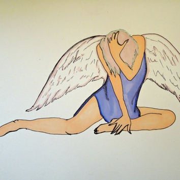 """Fallen Angel Original Drawing Pen and Ink with Prismacolor 5.5"""" x 7.5"""" SFA"""