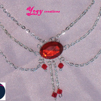 Vintage red crystal chain necklace by Yogy's