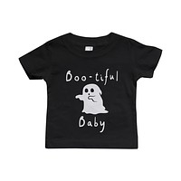 Boo-tiful Baby with Cute little Ghost T-shirt Halloween Black Round Neck shirt