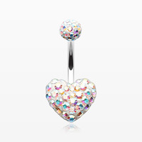 Multi-Gem Sparkle Heart Multi-Gem Belly Button Ring
