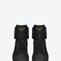 SAINT LAURENT SIGNATURE COURT CLASSIC SL/01H HIGH TOP SNEAKER IN BLACK LEATHER | YSL.COM