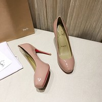 CL Fashion Trending Leather Women High Heels Shoes Women Sandals Heel
