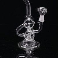 Double recycler Glass Bong Glass Smoking Water pipes Bubbler oil rigs 22mm height