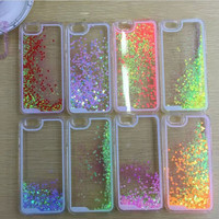 New ! Liquid Glitter Romantic Love Case Transparent Hard Case for iphone 6 4.7'' inch  Mobile Phone cases