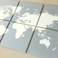 3'x2' world map on canvas. hand sketched and painted. custom colors, gold, gray, yellow, red, black, blue, green, orange, teal and more