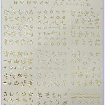 Metallic Gold and Silver Nail Art Water Transfer Sticker Decals