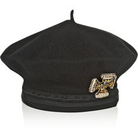 Alberta Ferretti - Embellished double-faced wool beret
