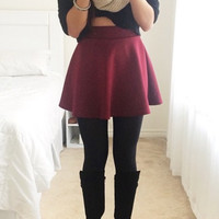 Essential Flared Skirt - Burgundy- FINAL SALE