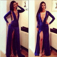 Royal blue V-Neck Cutout Long-Sleeve Maxi Dress With Slit