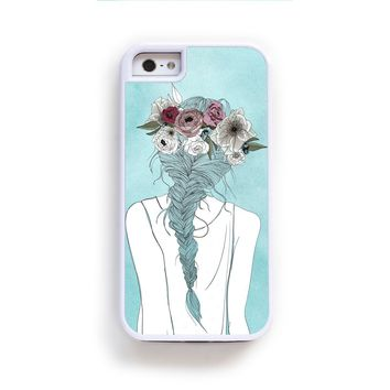 Flower crown girl illustration on blue for iPhone 6