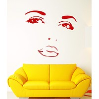 Vinyl Wall Decal Beautiful Face Girl Makeup Sexy Lips Eyes Beauty Salon Stickers Unique Gift (1815ig)