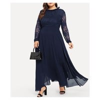 Navy Blue Frill Neckline Long Sleeve Guipure Lace Maxi Dress