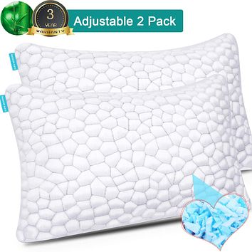 Cooling Bed Pillows for Sleeping 2 Pack Shredded Memory Foam Pillows with Adjustable Loft, Hypoallergenic BAMBOO Pillows Gel Pillow for Back Side Stomach Sleepers Queen Shredded Memory Foam Bed Pillow White LUXRY UPDATED 3D QUEEN -- 2 PACK