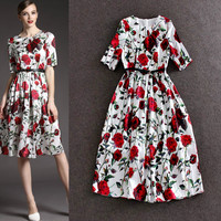 Roses Printed Empire Waist Swing Dress